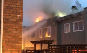 Town-house on fire